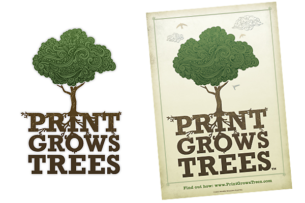 "Targeting young influencers, particularly those with an interest in environmental issues, the ""Print Grows Trees"" logo was designed to seduce viewers even before they absorb its perhaps counterintuitive message."