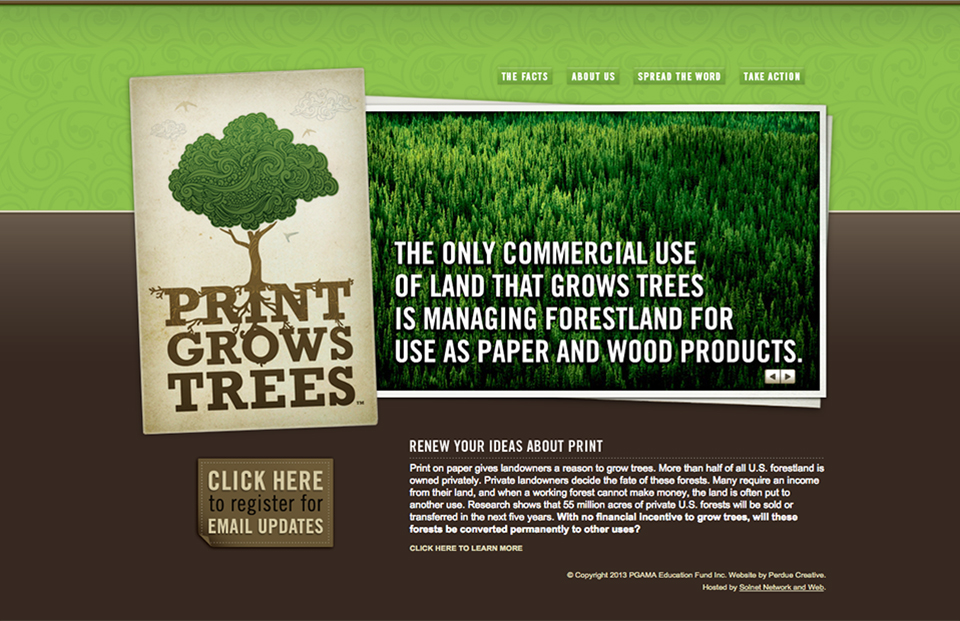 Print Grows Trees educational website
