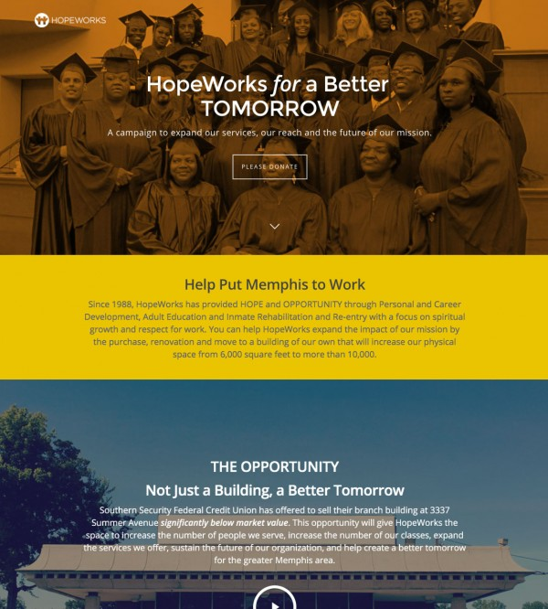 Digital marketing drove users to a campaign landing page where prospective donors learned about the opportunity at hand and hope they could support HopeWorks in putting Memphis to work.