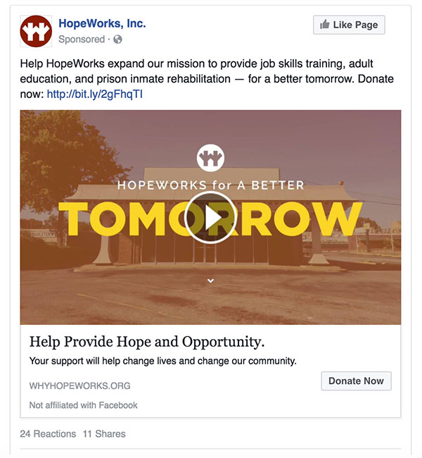This paid social video ad featured HopeWorks Executive Director Ron Wade describing HopeWorks bold step into the future and the need for help to bring lasting change to our community.