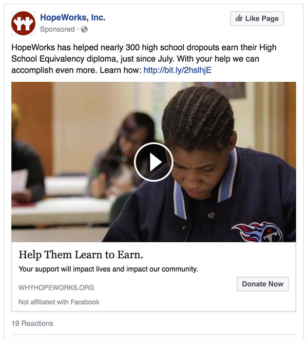 This paid social video ad featured HopeWorks Adult Education Director Jacob Shock highlighting the HiSET program's outstanding results and the impact it's having on the community.