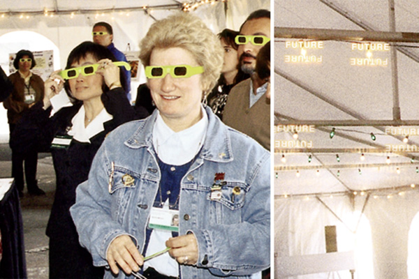 "Paper holospex eyeglasses allowed wearers to literally see the future as the word ""future"" became visible when gazing at white holiday lights strung overhead during the grand opening event."